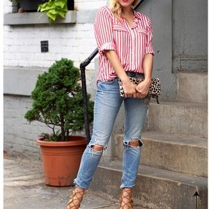 NY&CO Favorite Red Striped Shirt